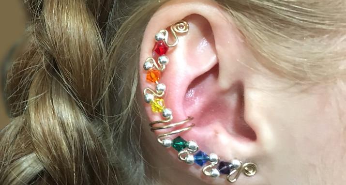 Rainbow ear cuffs