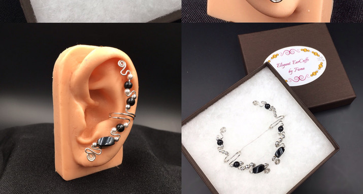 Sterling Silver and Hematite ear cuffs