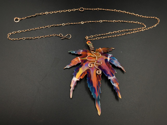 Maple leaf with 14K Rose Gold Filled Wire and Chain