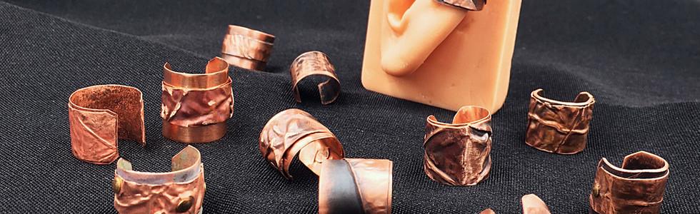 Single copper ear cuffs