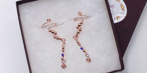 Rose Gold small drop ear cuffs