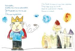 Ilustração alunos e texto manuscrito