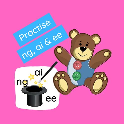 Phonics class -Practice ng, ai & ee