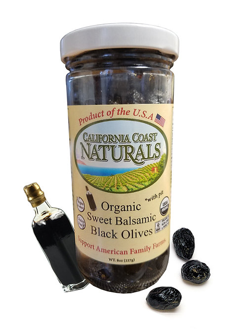 Organic Sweet Balsamic Sun Dried Olives 5oz