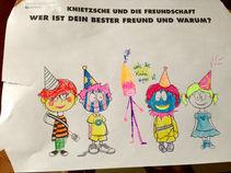 Knietzsche und seine Freunde bunt ausgemalt mit Partyhüten