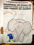Zeichnung von Knietzsche und einem Elefanten