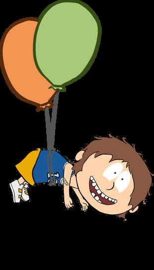 Norbert an Ballons hängend