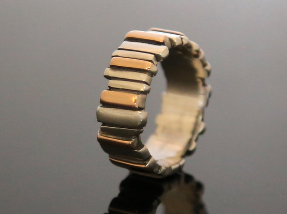 Silver & Rose Gold Fence Ring