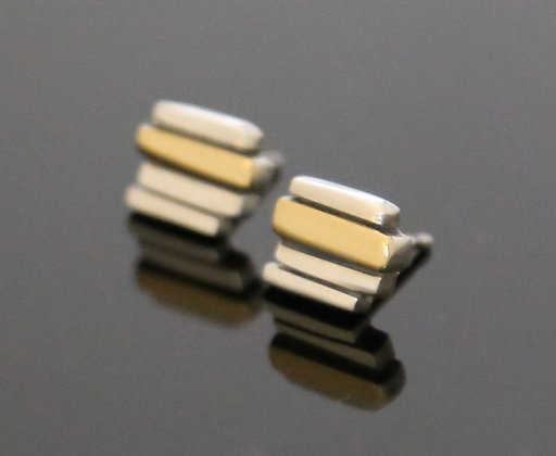 Silver & 18ct Yellow Gold 4 Bar Fence Earrings