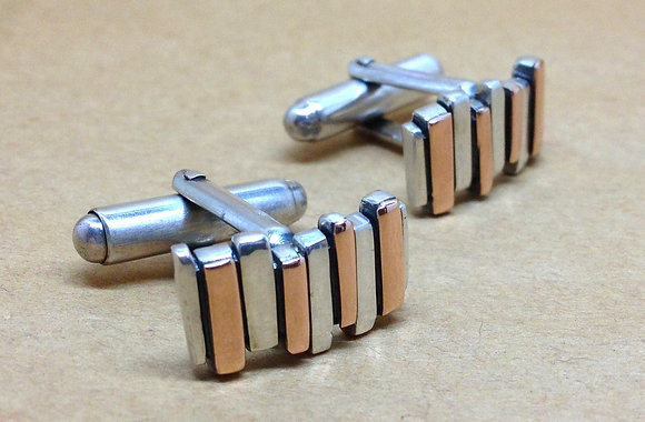 Silver & 9ct Red Gold Fence Cufflinks