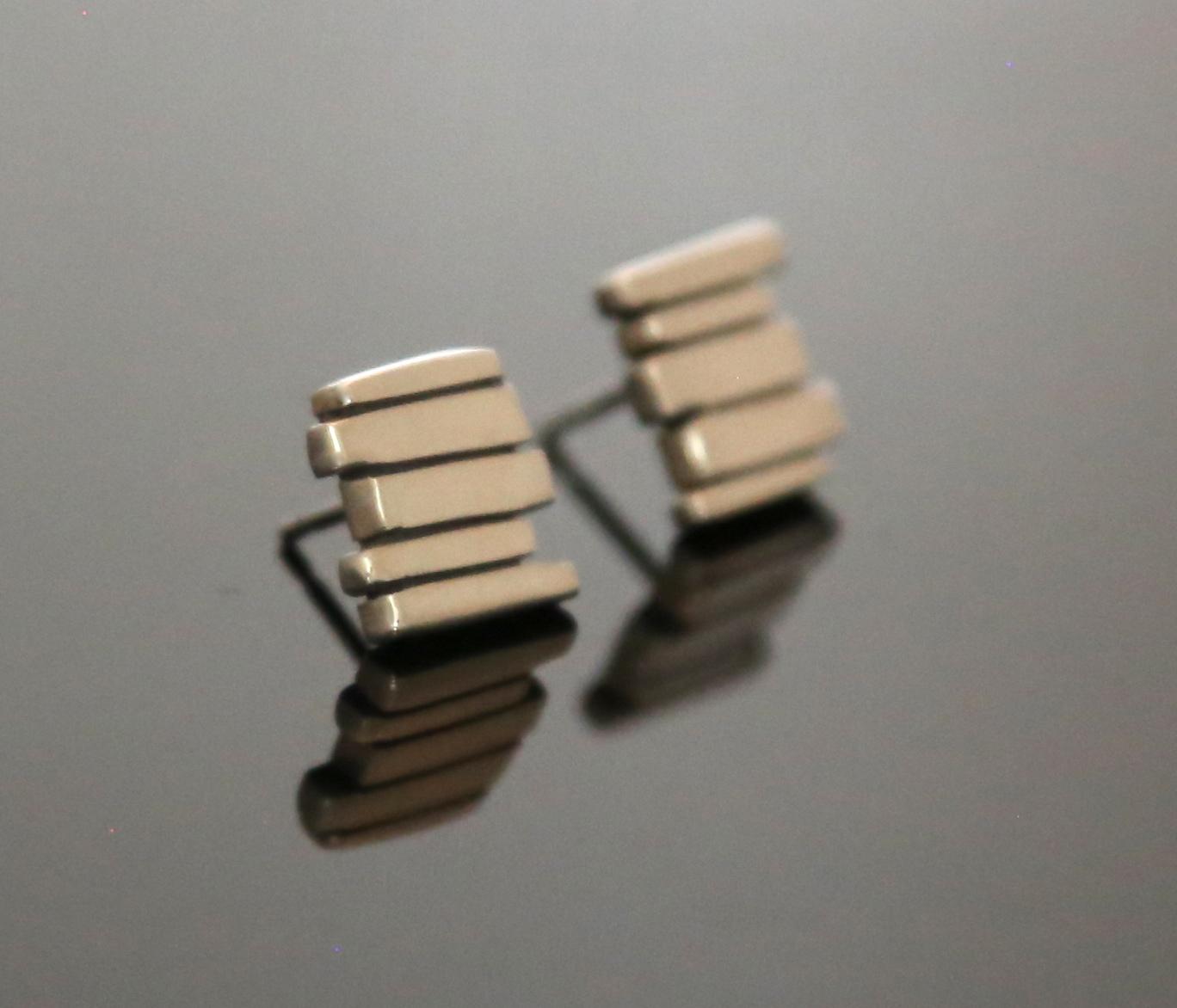 Silver 5 Bar Studs