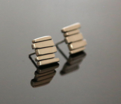 Silver 5 Bar Fence Earrings