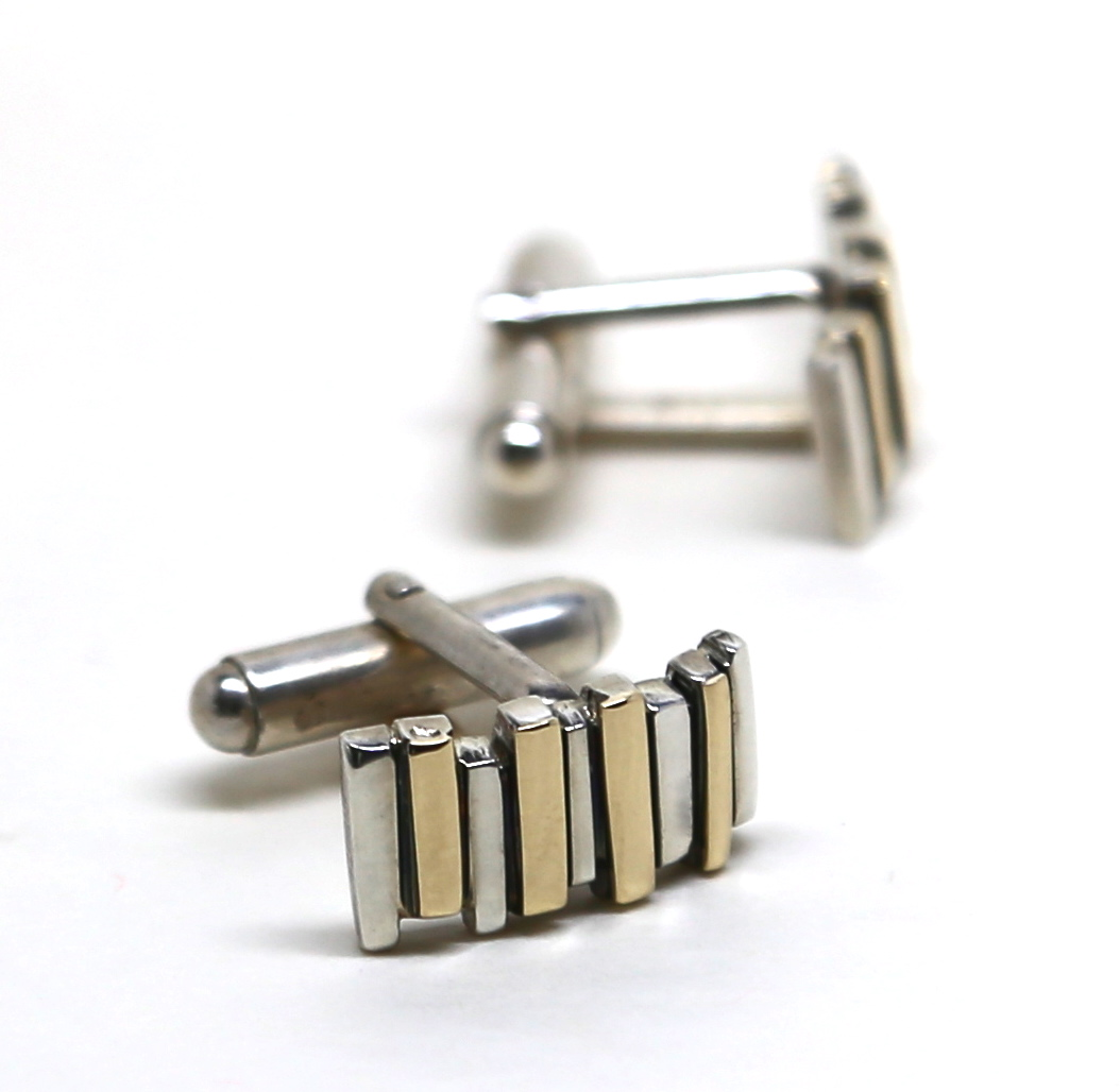 Silver & 18ct Yellow Gold Fence Cufflinks
