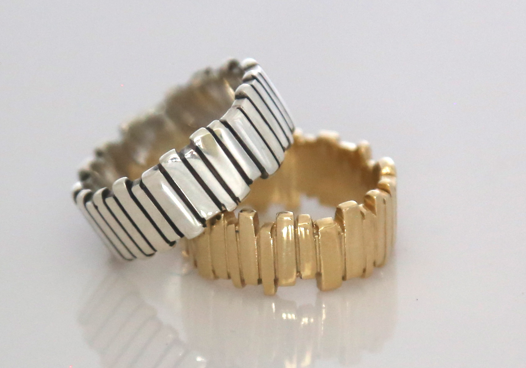 Silver Fence Ring & 9ct Yellow Gold Fence Ring