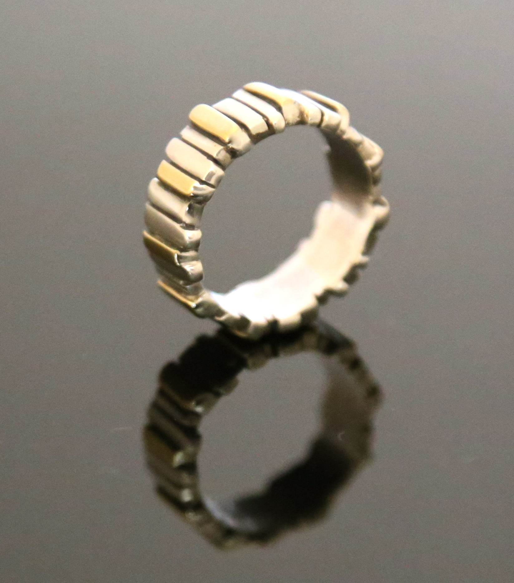 Silver & 18ct Yellow Gold Fence Ring