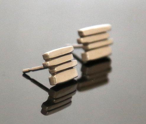 Silver 4 Bar Fence Earrings