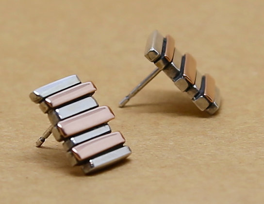 Silver & 9ct Red Gold 7 Bar Fence Earrings