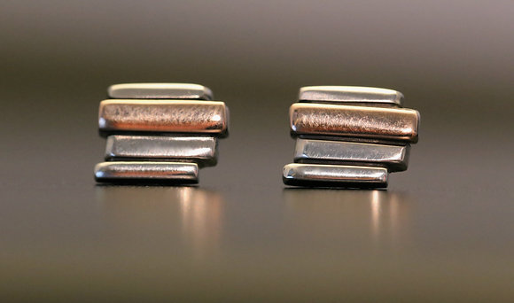 Silver & 9ct Red Gold 4 Bar Fence Stud Earrings