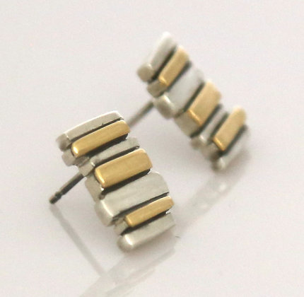 Silver & 18ct Yellow Gold 7 Bar Fence Studs