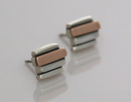 Silver & 9ct Rose Gold 4 Bar Studs