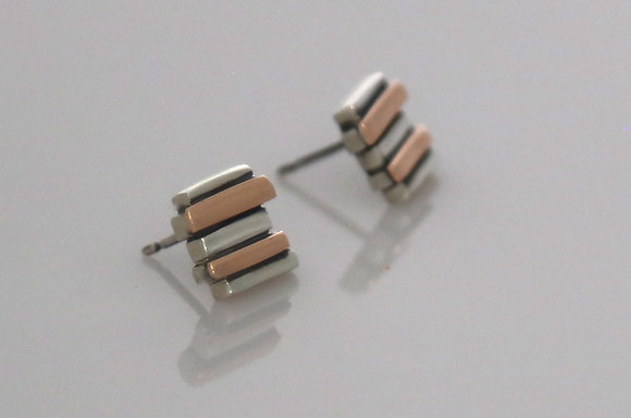 Silver & 9ct Rose Gold 5 Bar Fence Studs