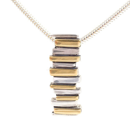 Silver & 18ct Yellow Gold Fence Pendant
