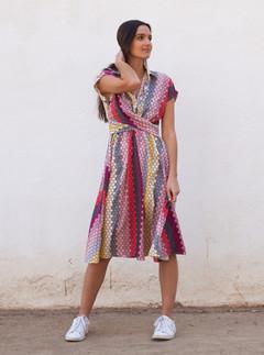 Vestido largo estampado colorido