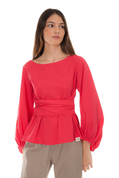RED BLOUSE BOW AT WAIST