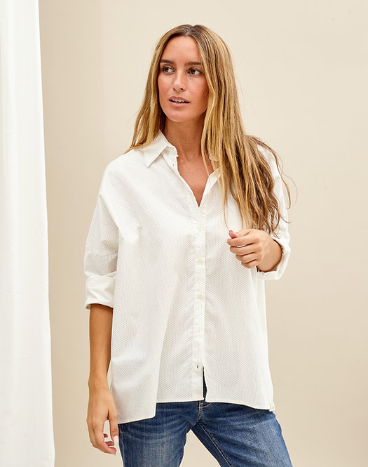 ECO OVERSIZE BLOUSE CREAM SMALL DOTS