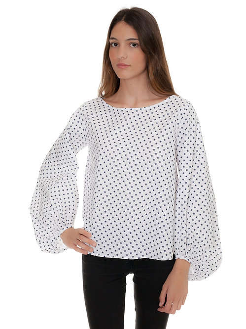WHITE AND BLUE STAR BLOUSE