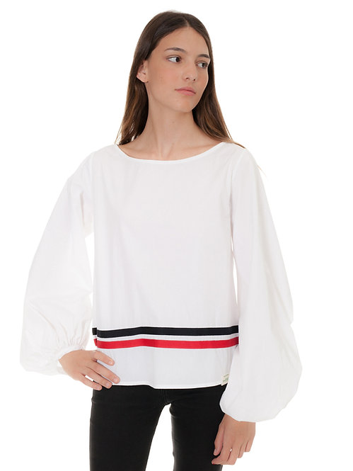 WHITE BLOUSE WITH TWO COLOR RIBONS