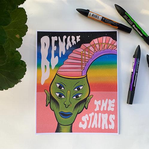 'Beware the Stairs' Print