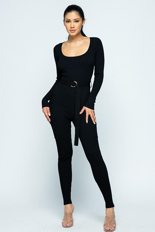 Black Cargo Pocket w Belt Pants Jumpsuit