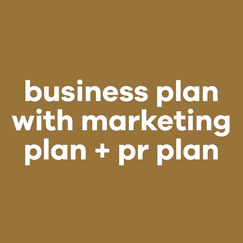 Business plan w/marketing + pr plan