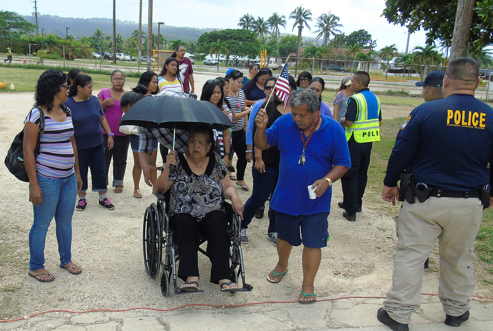 Tinian voters head to the polling area during last week's midterm election at the Tinian Elementary School. (Photo by Jonathan Perez)
