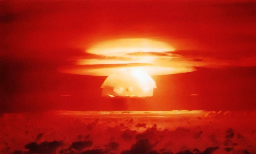 Mushroom cloud from the Operation Castle Bravo nuclear explosion in the Bikini Atoll, Marshall Islands. Photo courtesy of the US Air Force
