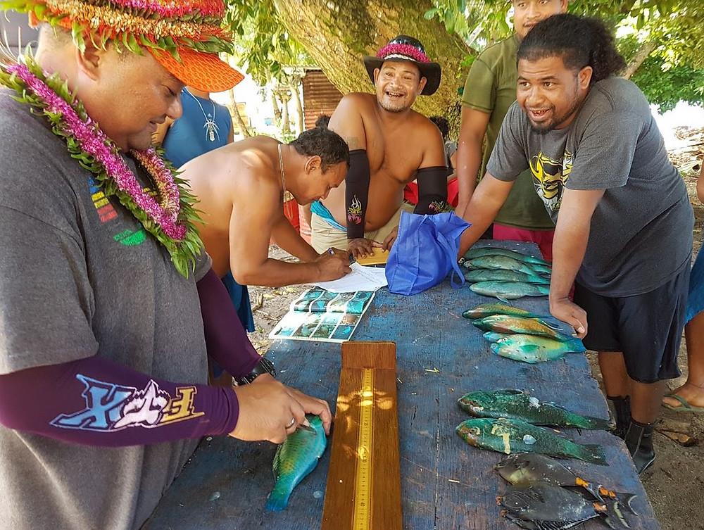 John Rulmal conducts fish data collection workshop on Saliap island