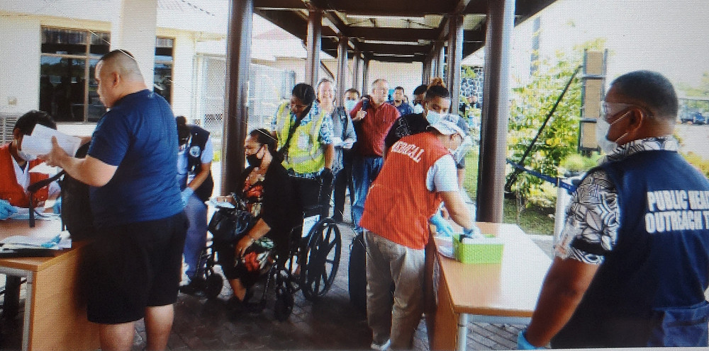 Passengers arriving in Pohnpei are screened by health officials. Photo courtesy of FSMIS