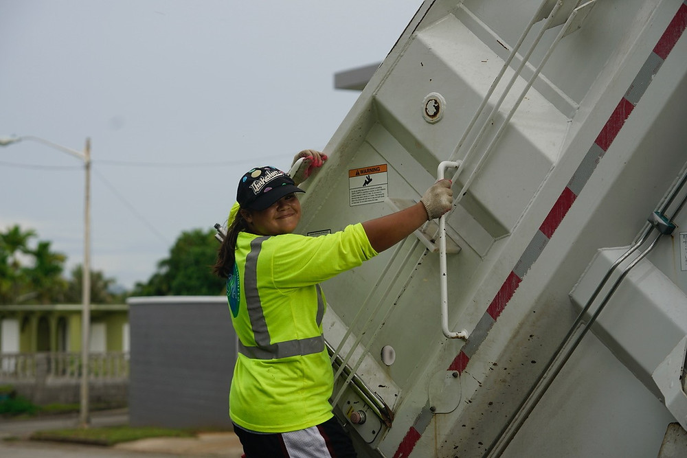 Nebi Manglona, 19, from Dededo, is GSWA's only female  sanitation    worker and has been with the agency for about a month. Photo courtesy of GBB