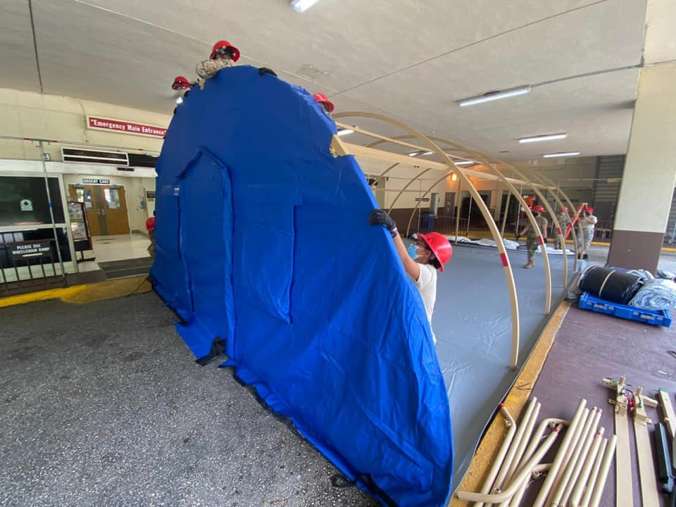 Blu-Med tent being set up at GHMH