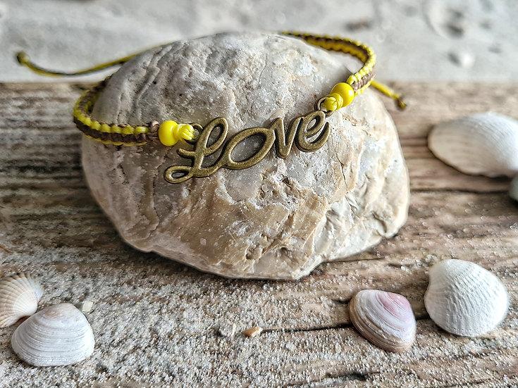 Makramee Armband Love gelb-braun