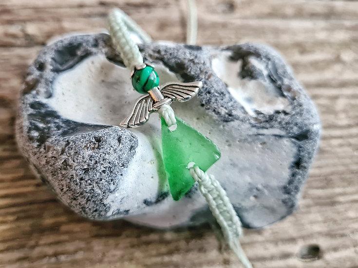 Makramee Armband Seeglasengel hellgrün
