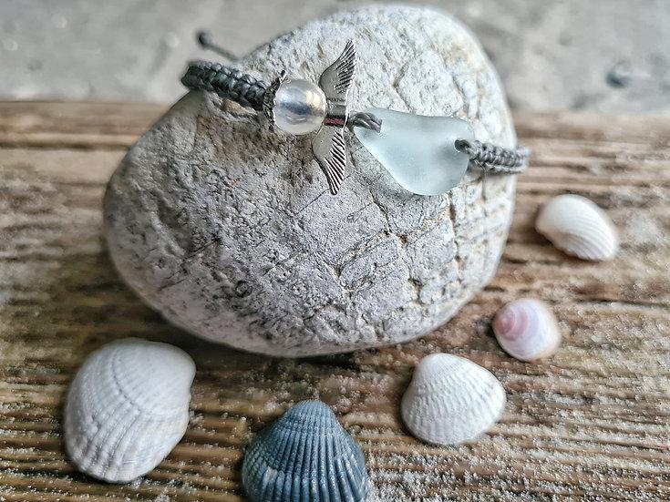 Makramee Armband Seeglasengel steingrau
