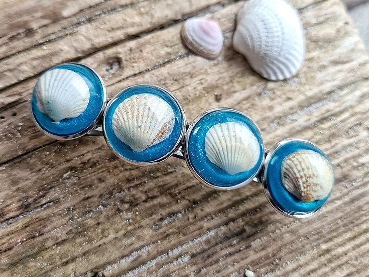 Muschel Haarspange blau
