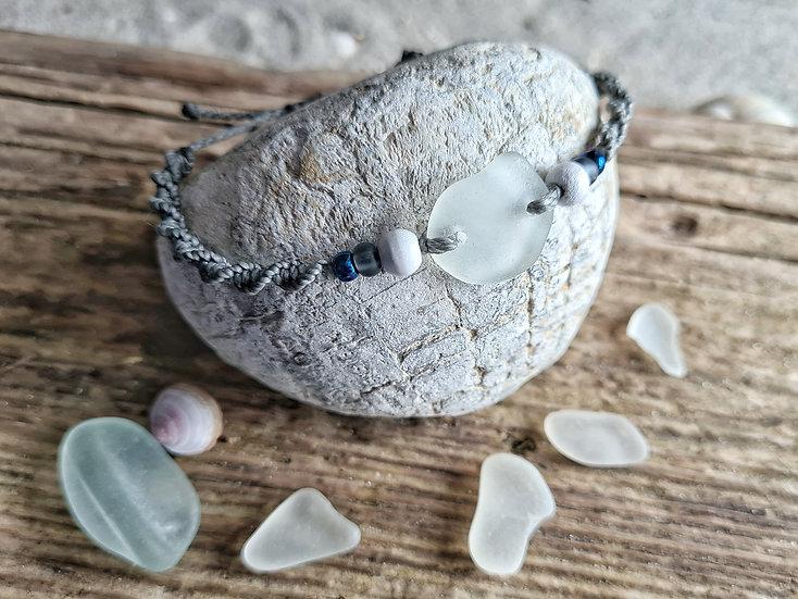 Makramee Armband Seeglas steingrau
