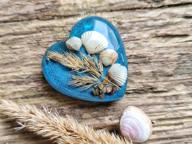 Strandgut Magnet Muschelherz blau
