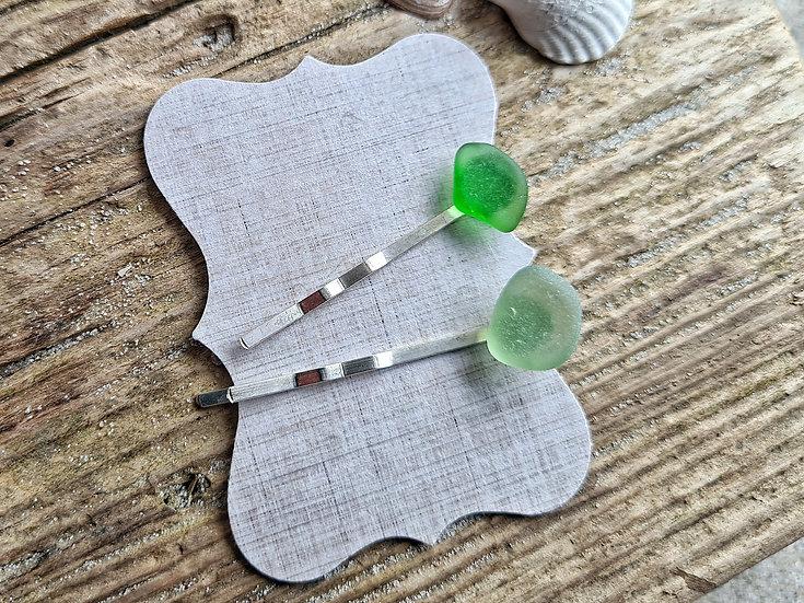 Haarnadel Seeglasduo grün