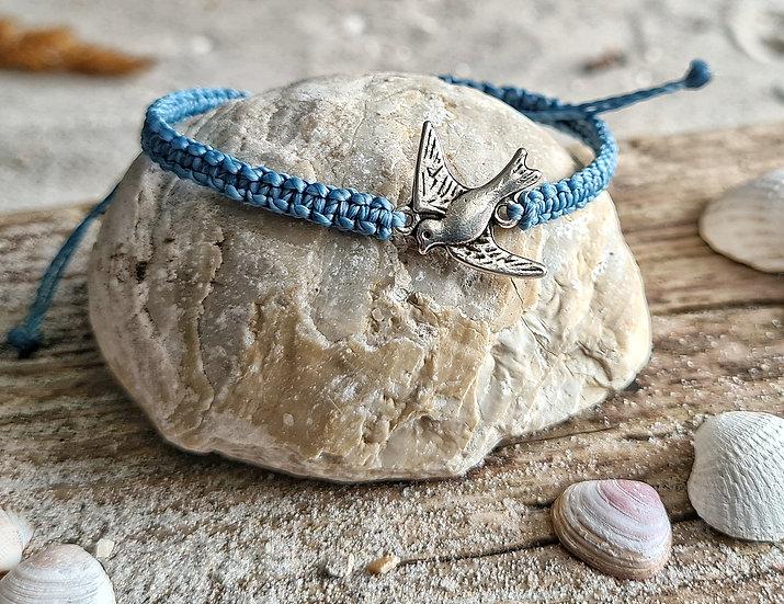 Makramee Armband Möwe blau