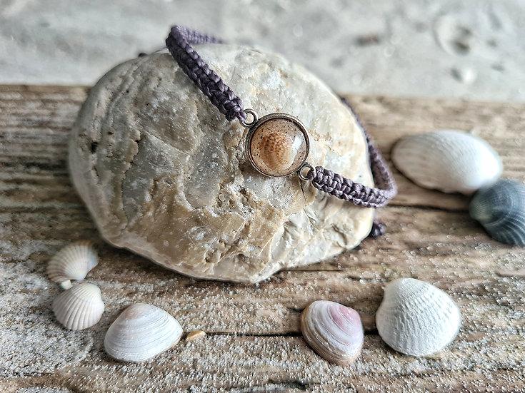 Makramee Armband Muschel dunkel violett