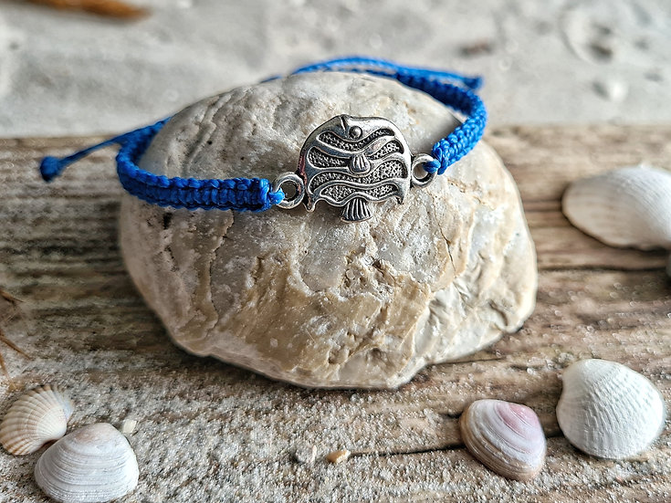 Makramee Armband Fisch royalblau